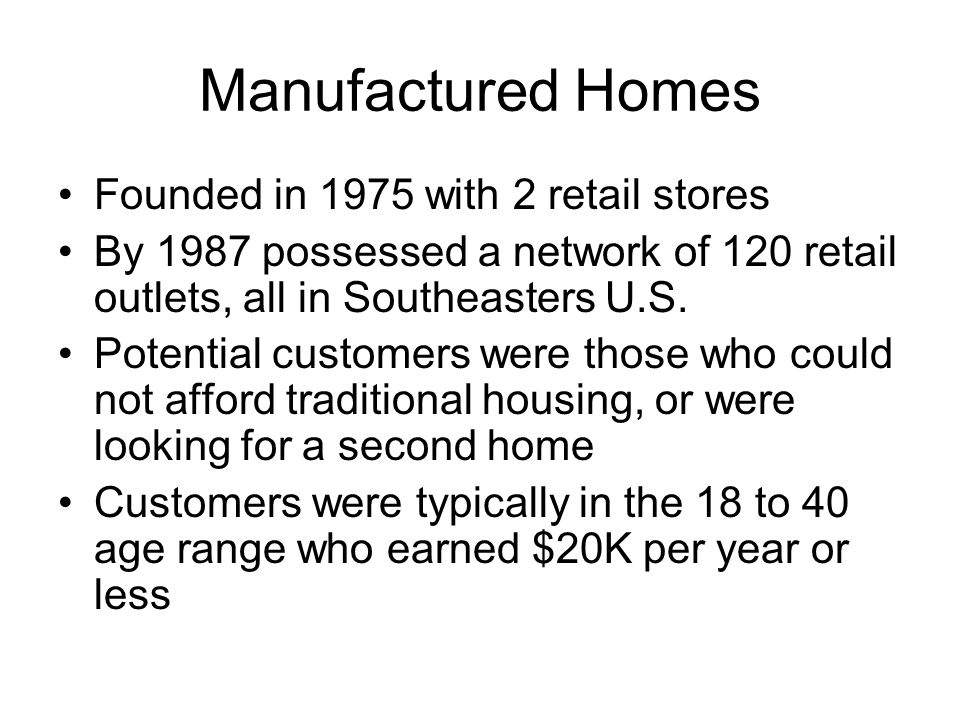 Manufactured Homes Founded in 1975 with 2 retail stores