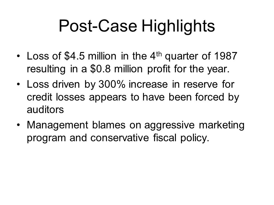 Post-Case Highlights Loss of $4.5 million in the 4th quarter of 1987 resulting in a $0.8 million profit for the year.