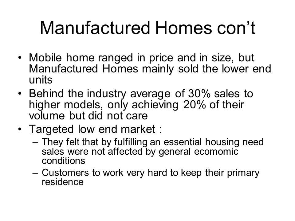 Manufactured Homes con't