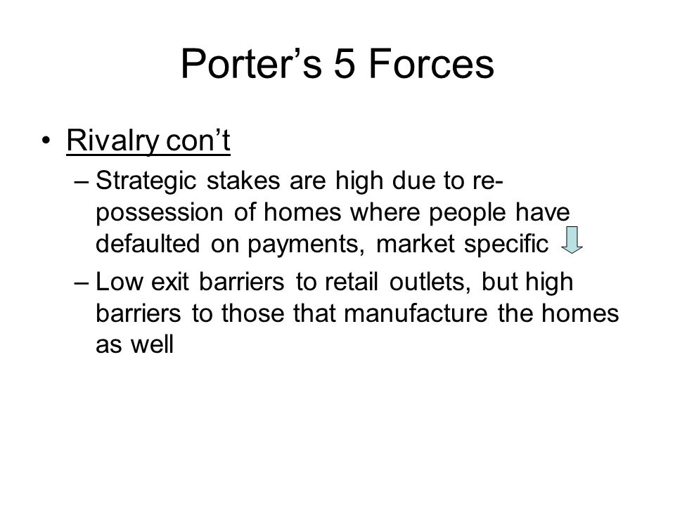 Porter's 5 Forces Rivalry con't