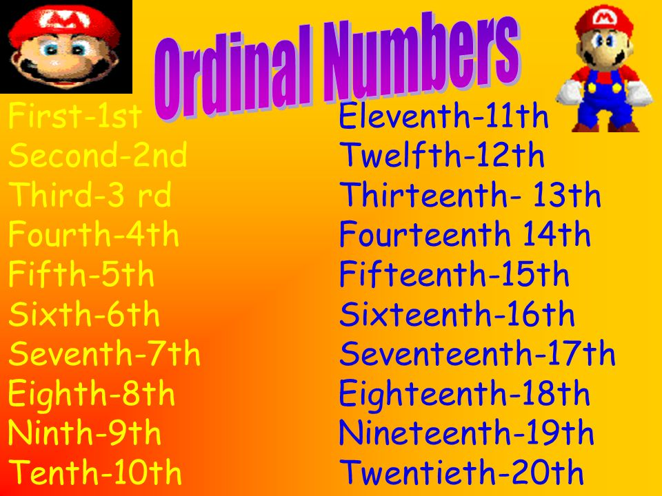 Ordinal NumbersFirst-1st. Second-2nd. Third-3 rd. Fourth-4th. Fifth-5th. Sixth-6th. Seventh-7th. Eighth-8th.