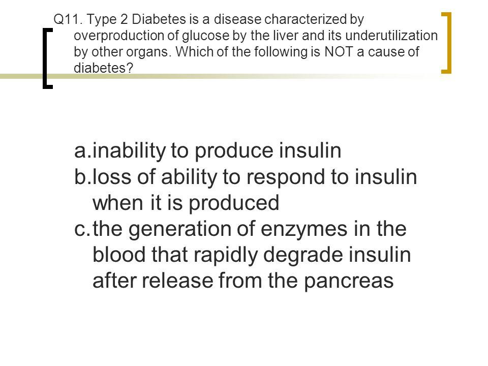 inability to produce insulin