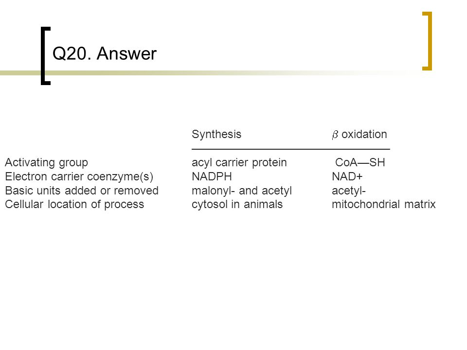Q20. Answer Synthesis b oxidation —————————————————