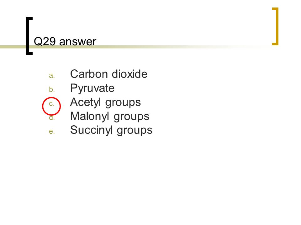 Q29 answer Carbon dioxide Pyruvate Acetyl groups Malonyl groups Succinyl groups