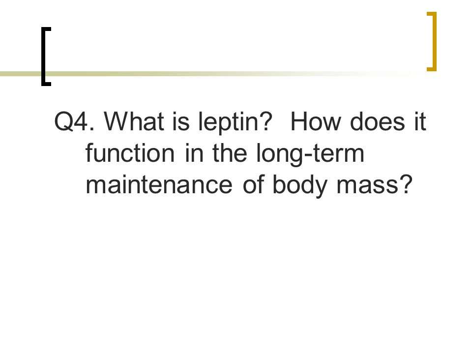 Q4. What is leptin How does it function in the long-term maintenance of body mass