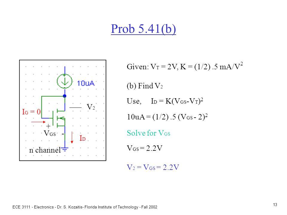 Prob 5.41(f) Given: VT = 2V, K = (1/2) .5 mA/V2 (f) Find VGS