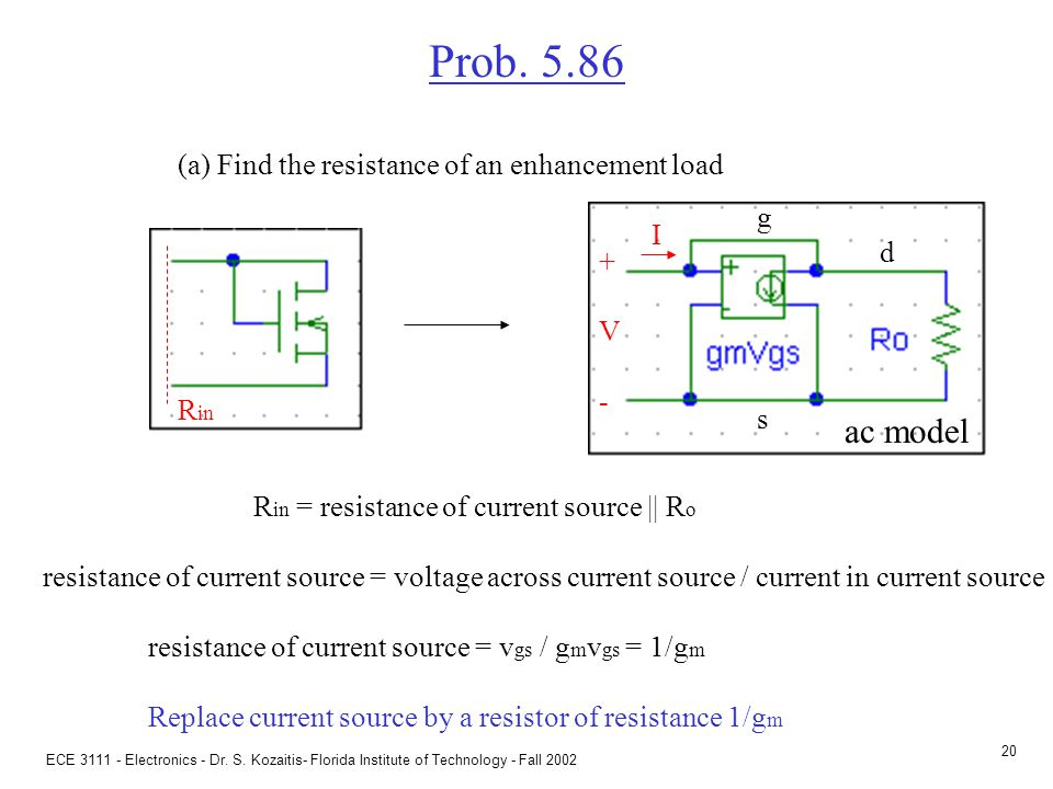 Prob. 5.86 (a) Find the resistance of an enhancement load Often,