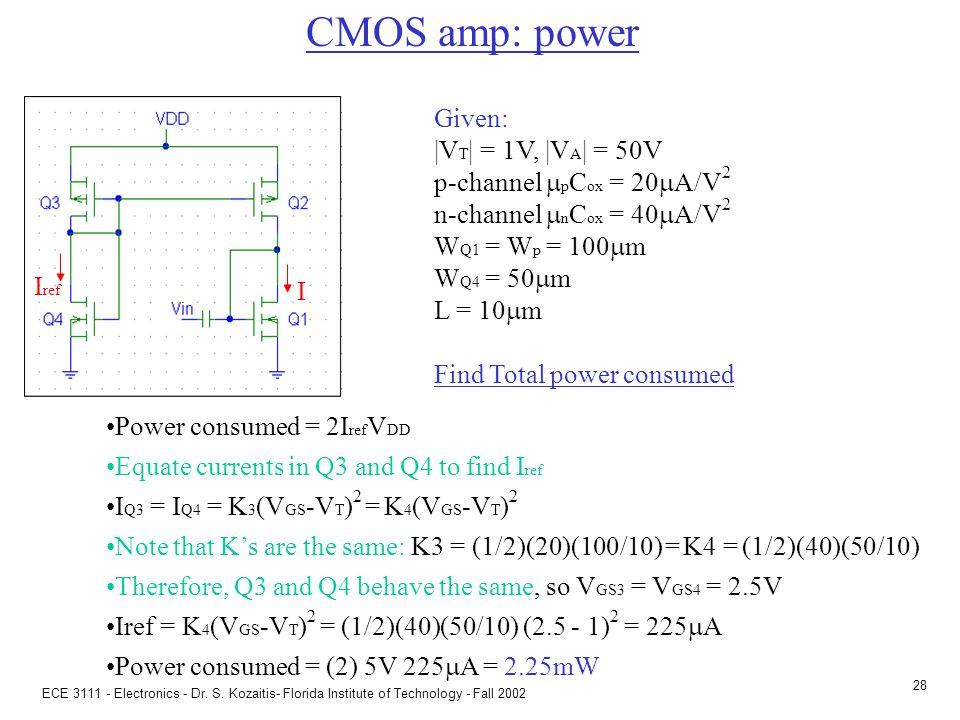 CMOS amp: DC analysis Given: |VT| = 1V, |VA| = 50V