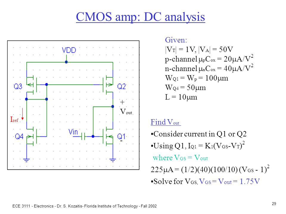 CMOS amp: ac analysis Given: |VT| = 1V, |VA| = 50V