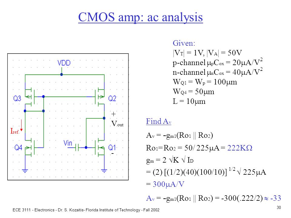 CMOS multistage amp: ac analysis