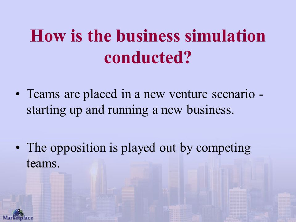 How is the business simulation conducted