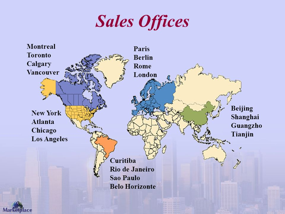 Sales Offices Montreal Paris Toronto Berlin Calgary Rome Vancouver