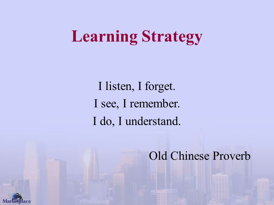 Learning Strategy I listen, I forget. I see, I remember.