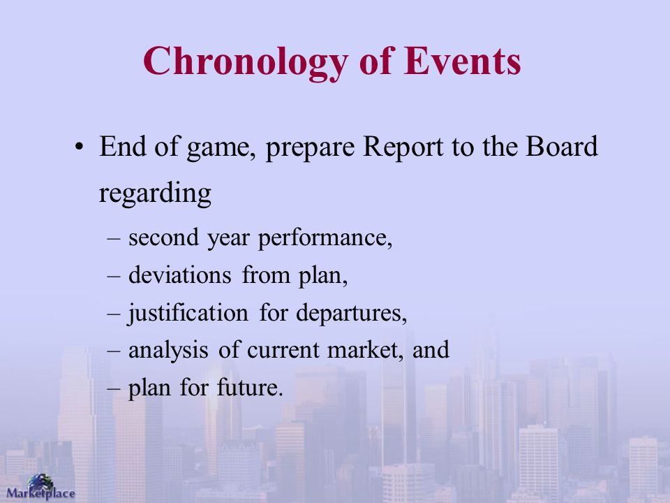 Chronology of Events End of game, prepare Report to the Board regarding. second year performance, deviations from plan,