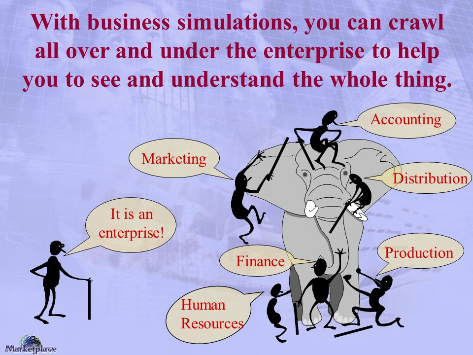 With business simulations, you can crawl all over and under the enterprise to help you to see and understand the whole thing.