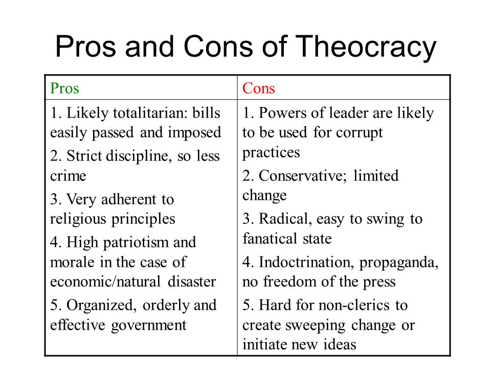 Pros and Cons of Theocracy