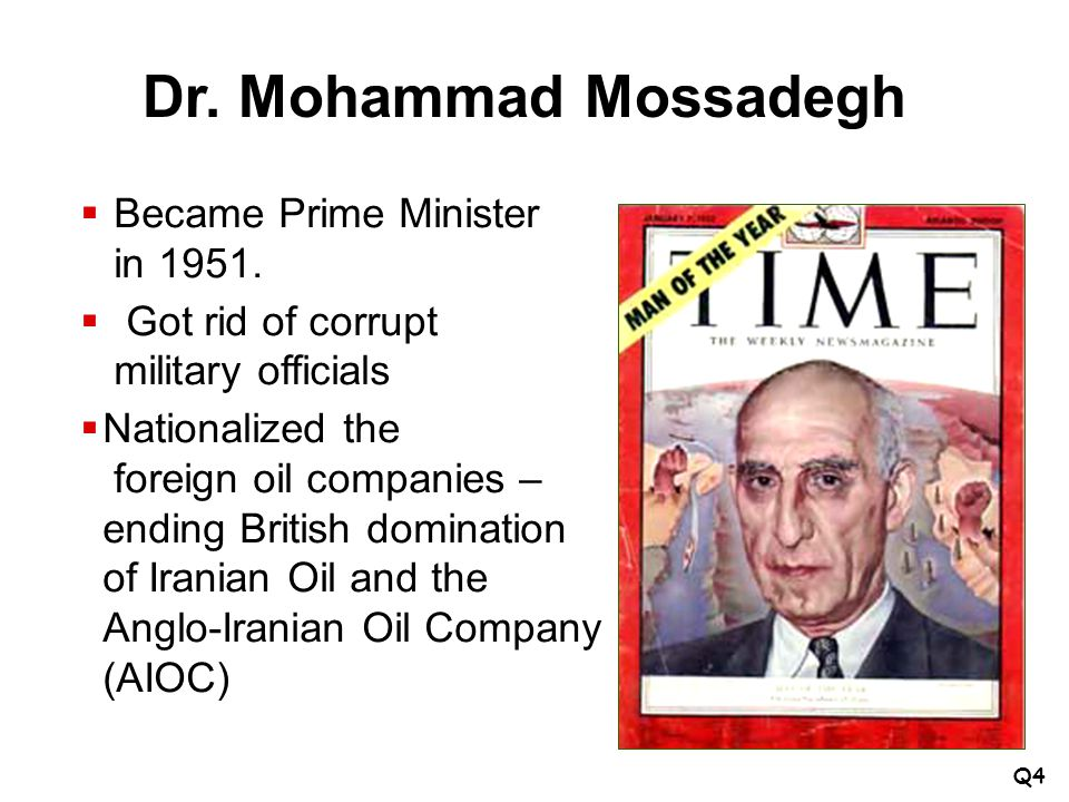 Dr. Mohammad Mossadegh Became Prime Minister in 1951.