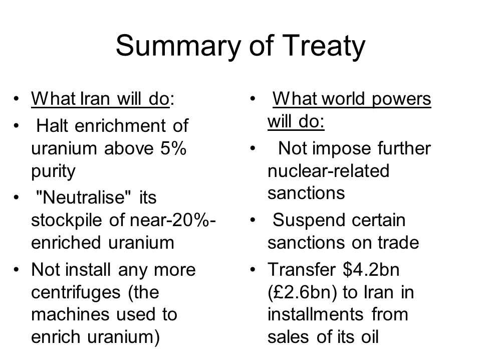 Summary of Treaty What Iran will do: