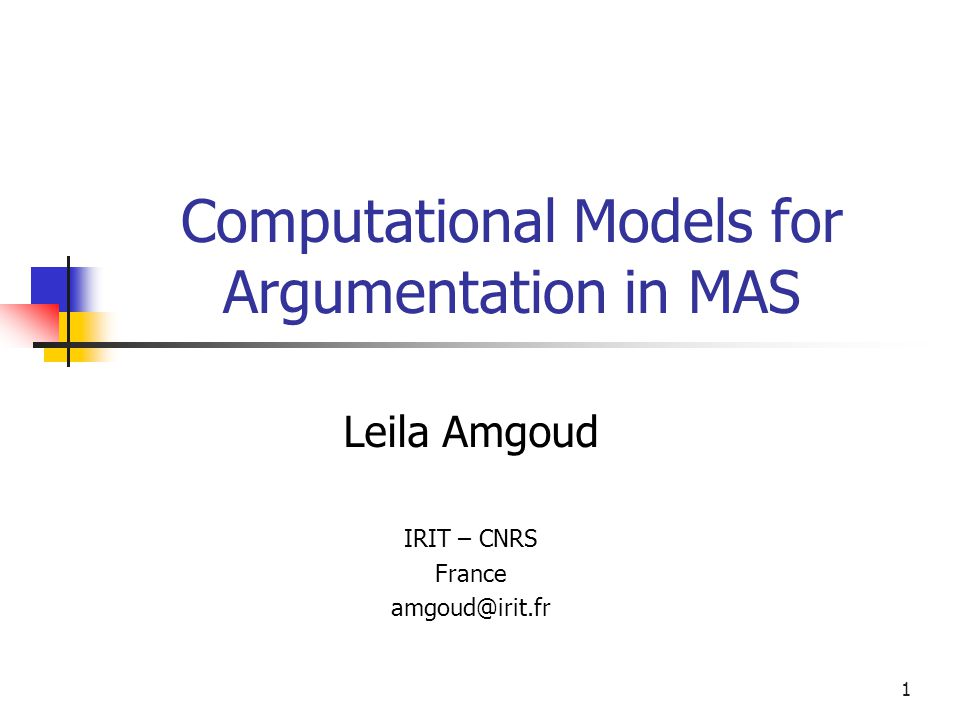 Computational Models for Argumentation in MAS