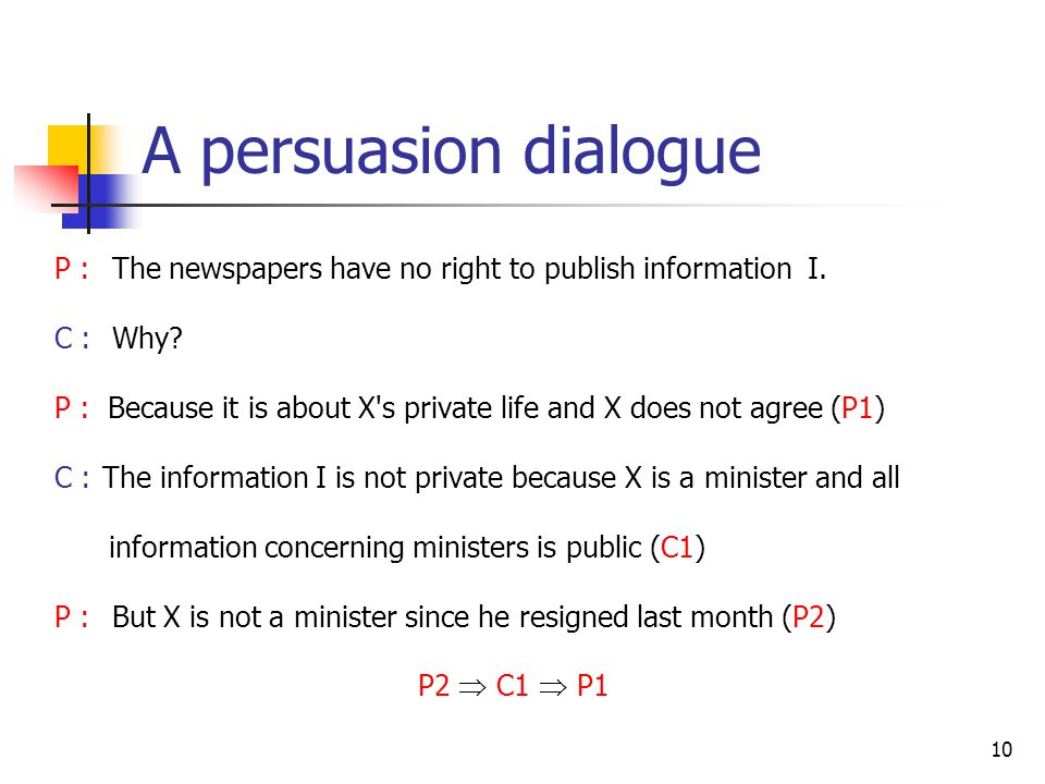 A persuasion dialogue P : The newspapers have no right to publish information I. C : Why