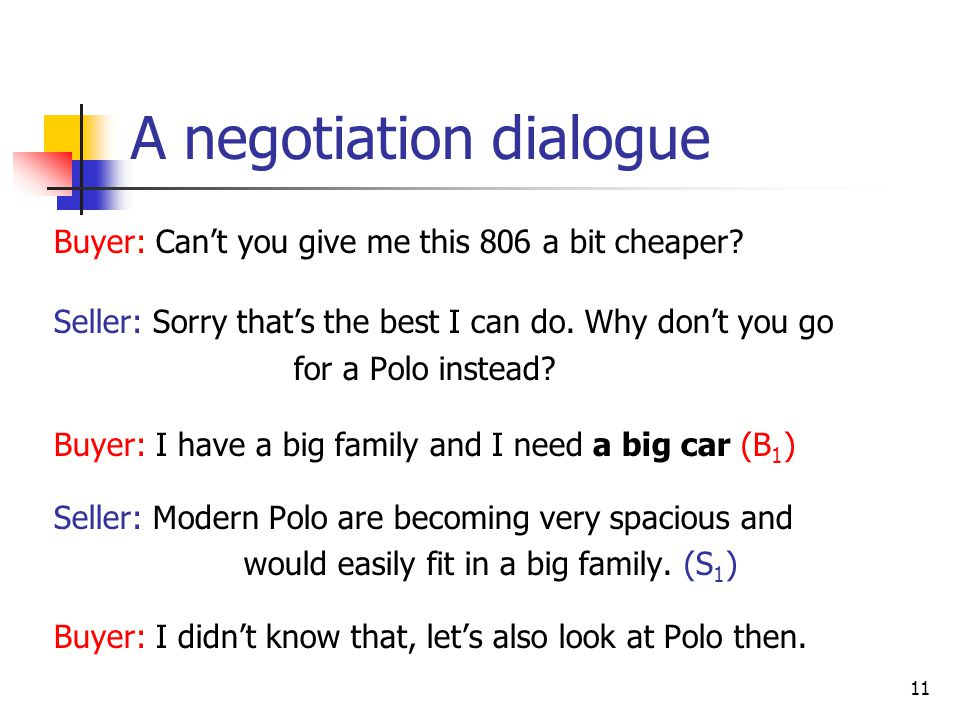 A negotiation dialogue