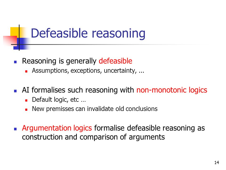 Defeasible reasoning Reasoning is generally defeasible