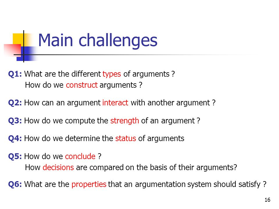 Main challenges Q1: What are the different types of arguments