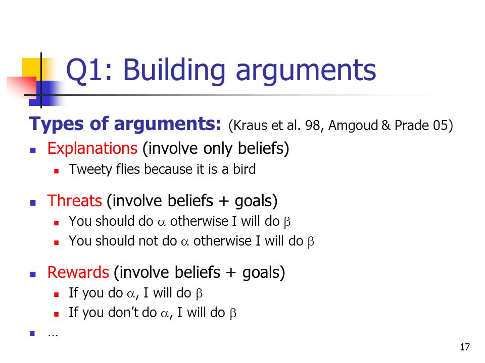 Q1: Building arguments Types of arguments: (Kraus et al. 98, Amgoud & Prade 05) Explanations (involve only beliefs)