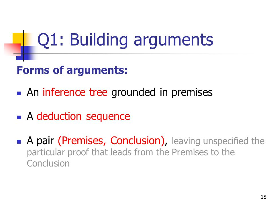 Q1: Building arguments Forms of arguments: