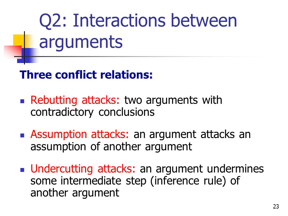 Q2: Interactions between arguments