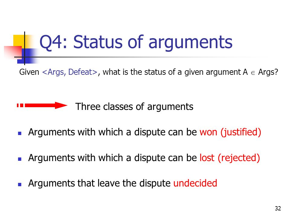 Q4: Status of arguments Given <Args, Defeat>, what is the status of a given argument A  Args Three classes of arguments.