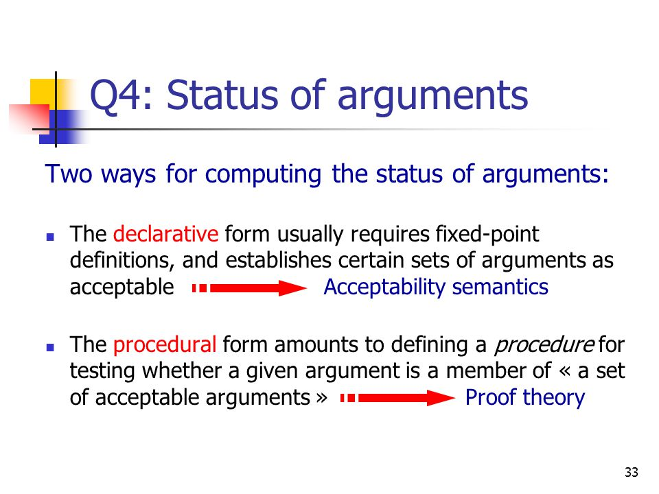 Q4: Status of arguments Two ways for computing the status of arguments:
