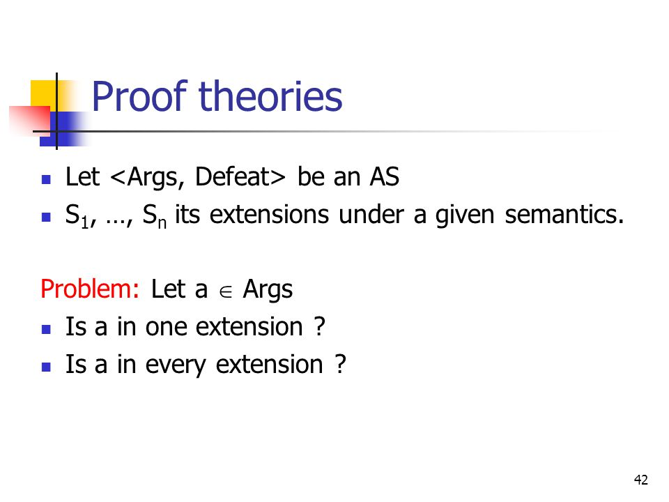 Proof theories Let <Args, Defeat> be an AS