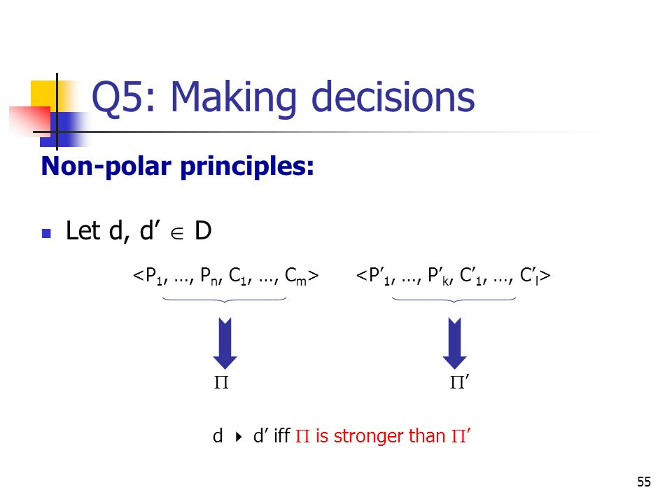 Q5: Making decisions Non-polar principles: Let d, d'  D