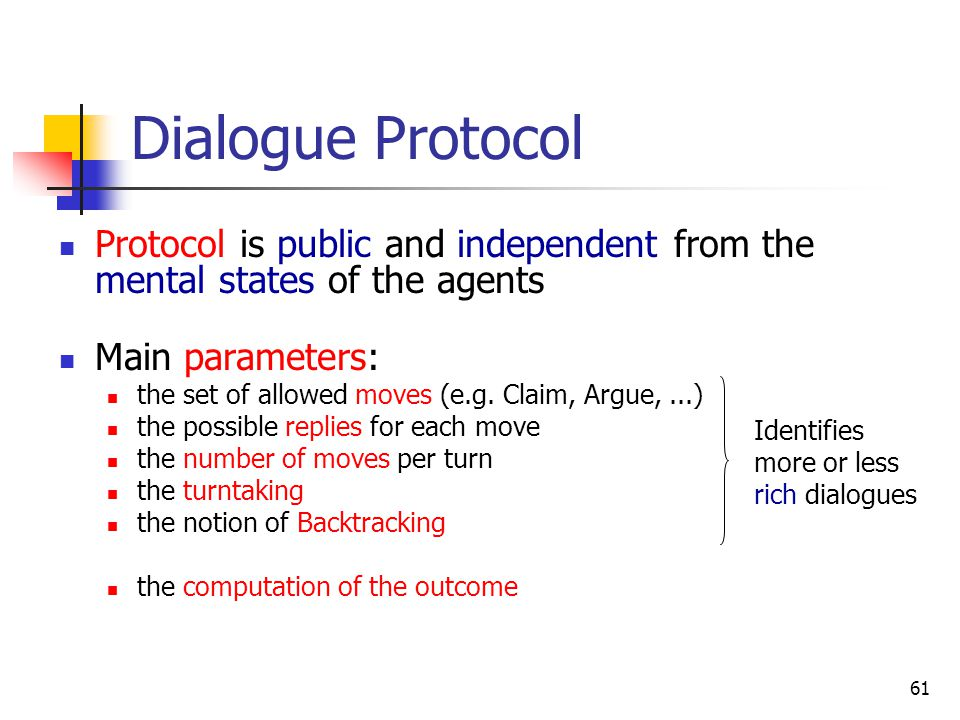 Dialogue Protocol Protocol is public and independent from the mental states of the agents. Main parameters: