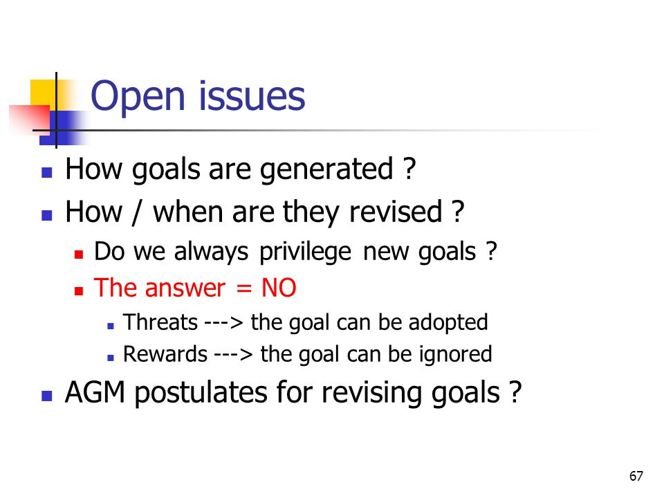 Open issues How goals are generated How / when are they revised