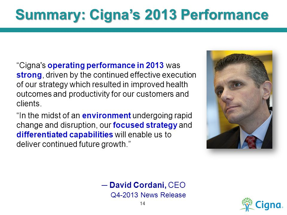 Summary: Cigna's 2013 Performance