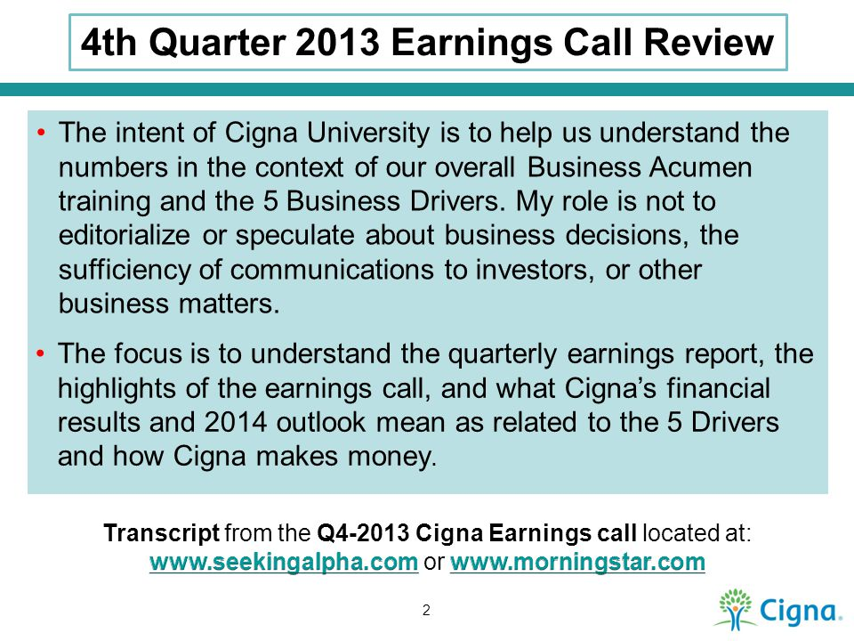 4th Quarter 2013 Earnings Call Review