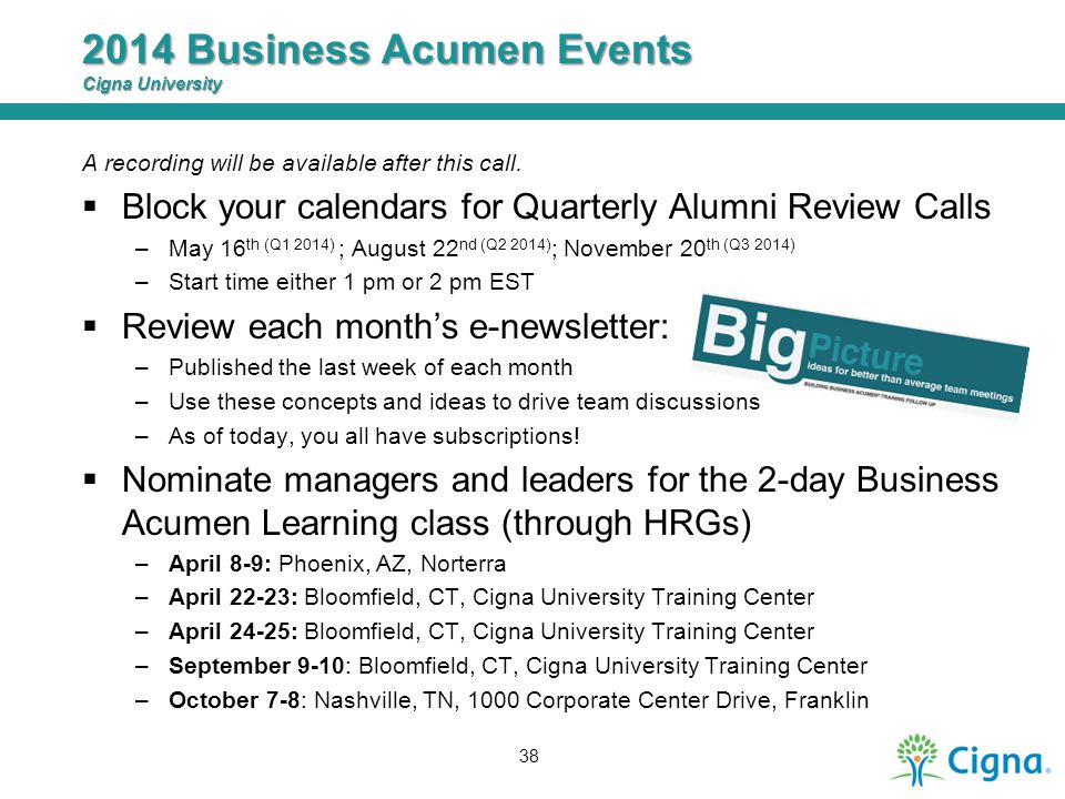 2014 Business Acumen Events Cigna University