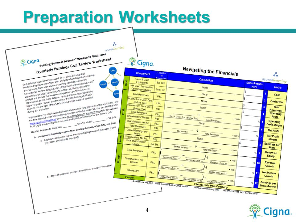 Preparation Worksheets