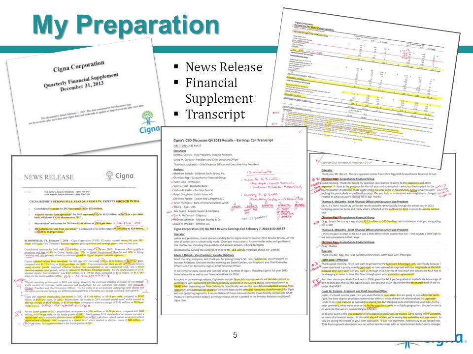 My Preparation News Release Financial Supplement Transcript