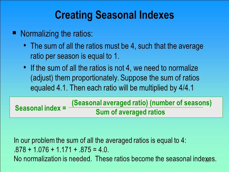 Creating Seasonal Indexes