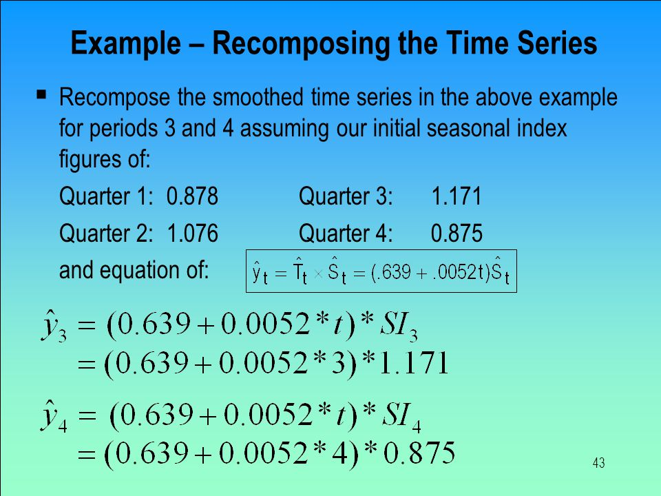 Example – Recomposing the Time Series
