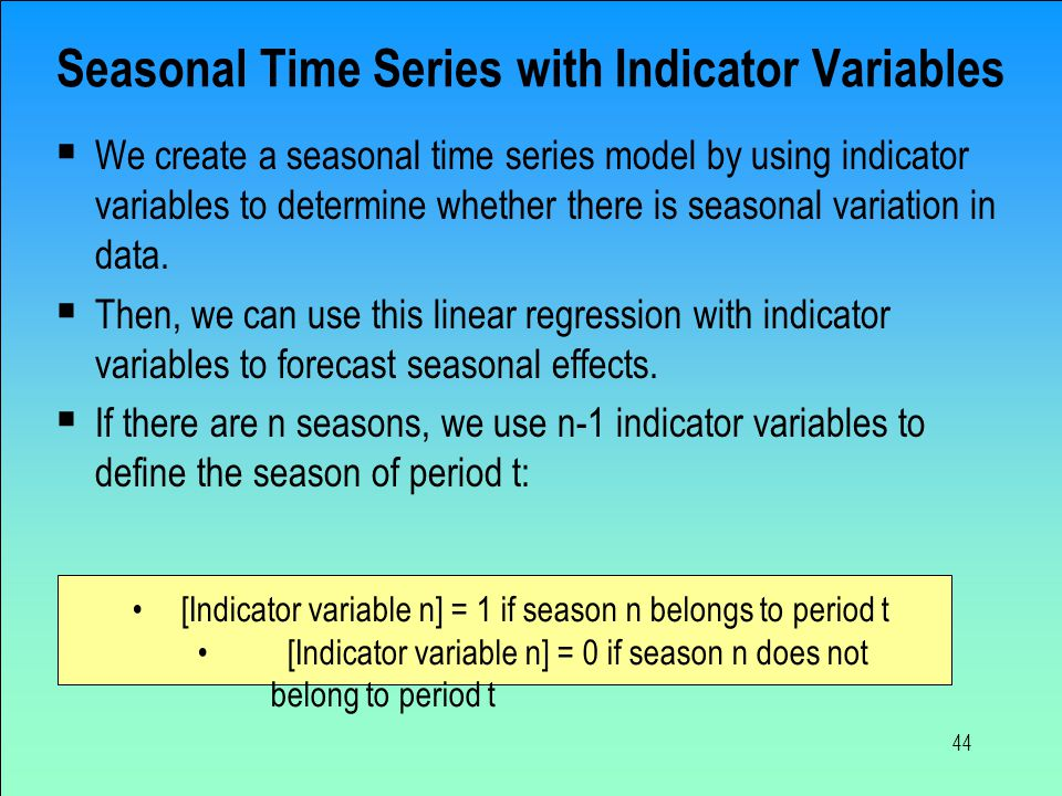Seasonal Time Series with Indicator Variables