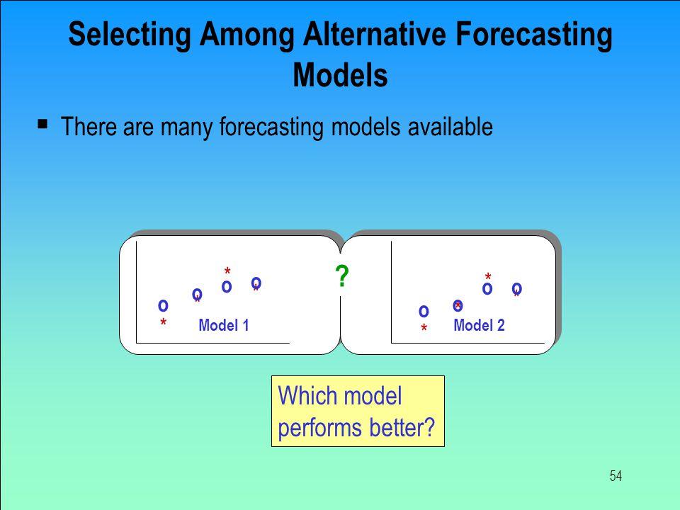 Selecting Among Alternative Forecasting Models