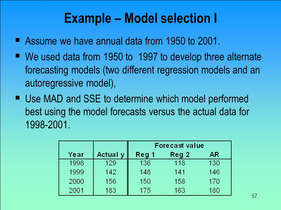 Example – Model selection I