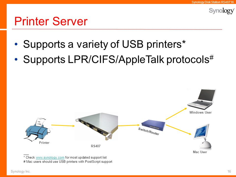Printer Server Supports a variety of USB printers*
