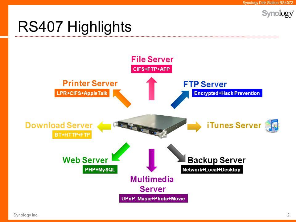 RS407 Highlights File Server Printer Server FTP Server Download Server