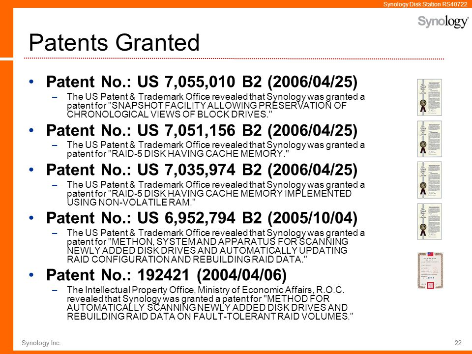 Patents Granted Patent No.: US 7,055,010 B2 (2006/04/25)