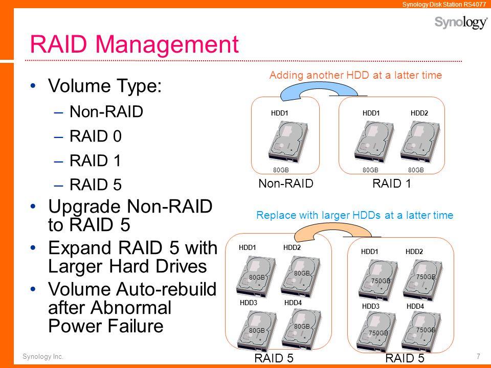 RAID Management Volume Type: Upgrade Non-RAID to RAID 5
